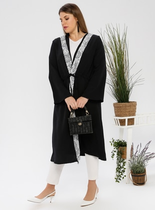 Ecru - Black - Unlined - Plus Size Abaya