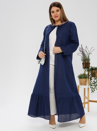 Navy Blue - Shawl Collar - Unlined - Plus Size Abaya