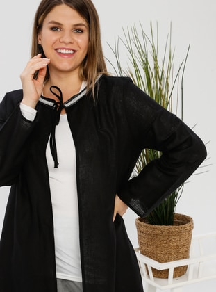 Black - Shawl Collar - Unlined - Plus Size Abaya