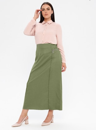 Khaki - Fully Lined - Plus Size Skirt