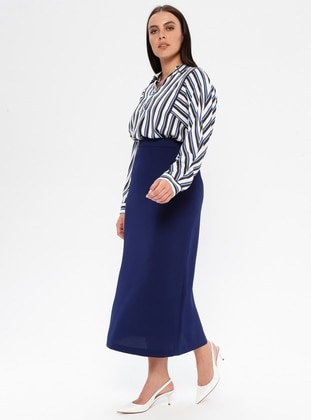 Blue - Indigo - Fully Lined - Plus Size Skirt
