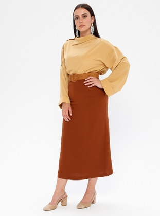 Tan - Fully Lined - Plus Size Skirt