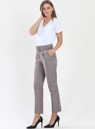 Beige - Plaid - Pants