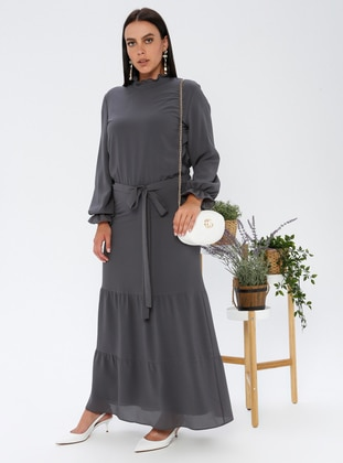 Smoke - Fully Lined - Crew neck - Plus Size Dress
