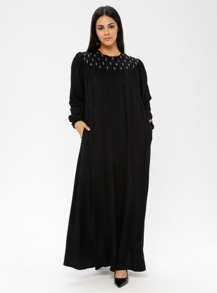 Black - Unlined - Crew neck - Viscose - Plus Size Dress - Ginezza