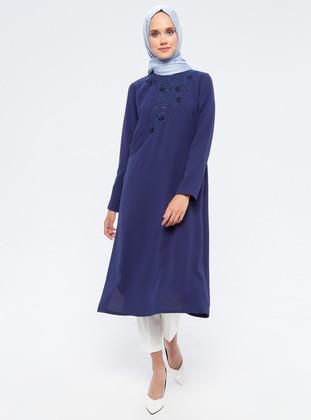 Navy Blue - Indigo - Unlined - Crew neck - Topcoat