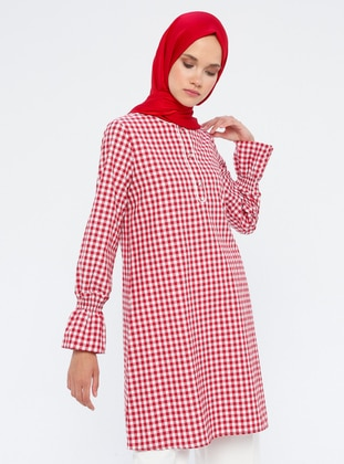 Maroon - Checkered - Crew neck - Cotton - Tunic
