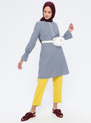 Navy Blue - Checkered - Crew neck - Cotton - Tunic -  By Tuğba