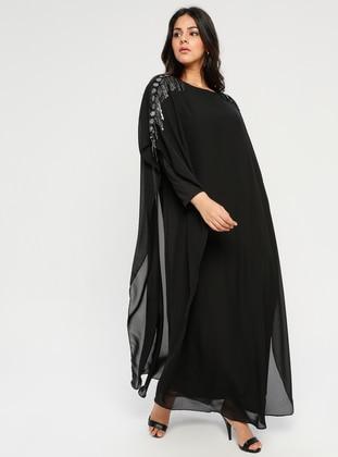 Black - Crew neck - Unlined - Plus Size Abaya - Melisita