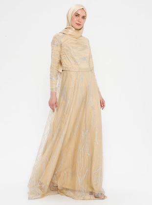 Gold - Stripe - Fully Lined - Crew neck - Muslim Evening Dress