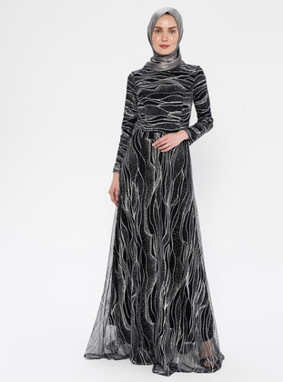 Navy Blue - Stripe - Fully Lined - Crew neck - Muslim Evening Dress