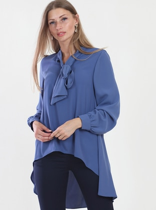 Blue - V neck Collar - Tunic