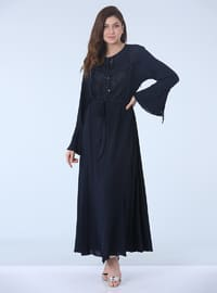 Navy Blue - Fully Lined - Crew neck - Plus Size Dress