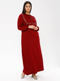 Maroon - Unlined - Crew neck - Viscose - Plus Size Dress - Ginezza