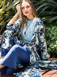 Blue - Multi - Shawl Collar - Cardigan