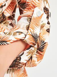 Orange - Multi - Shawl Collar - Cardigan