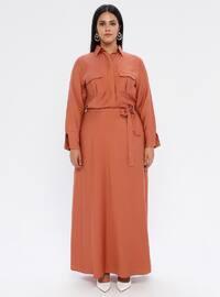 Cinnamon - Unlined - Crew neck - Plus Size Dress