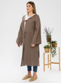 Gray -  - Unlined - Shawl Collar - Plus Size Coat