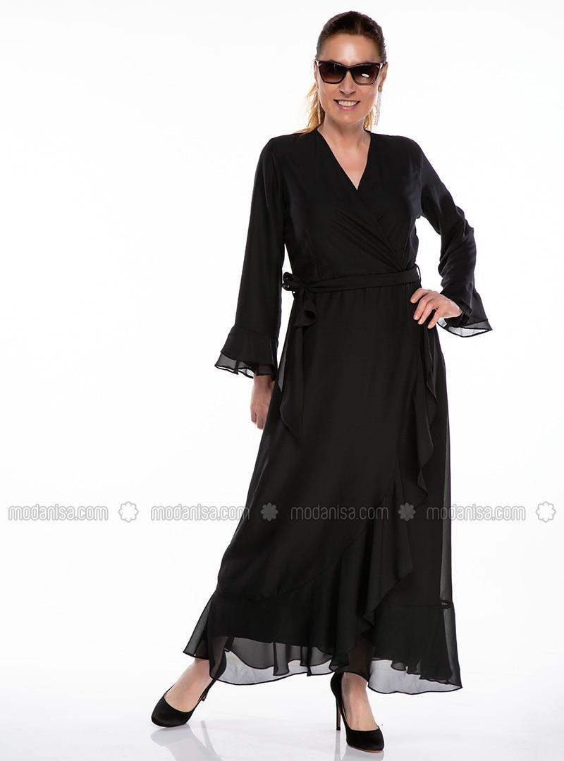 Black - Fully Lined - V neck Collar - Plus Size Dress