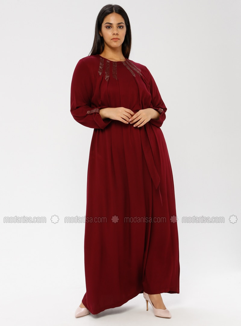 Maroon - Unlined - Plus Size Dress - Ginezza