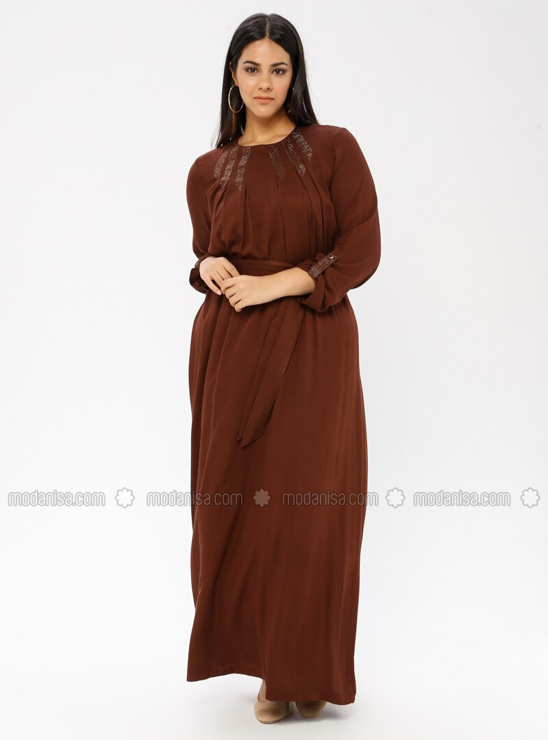 Brown - Unlined - Plus Size Dress - Ginezza