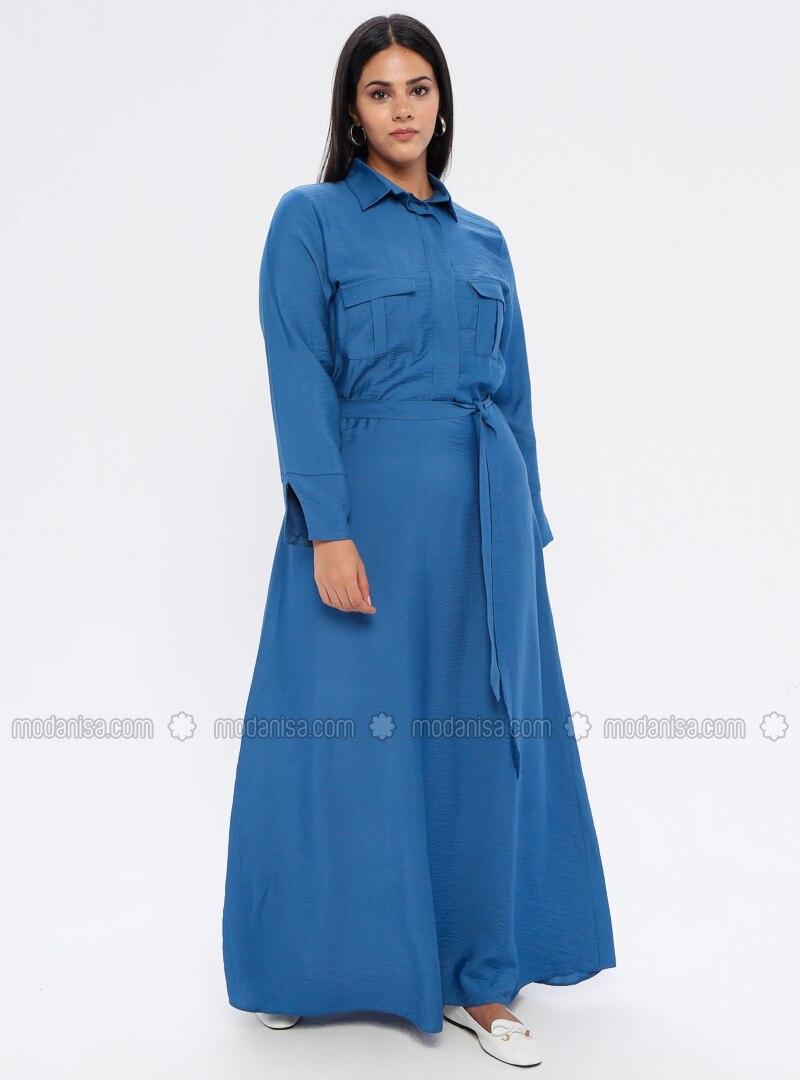 Indigo - Unlined - Point Collar - Plus Size Dress