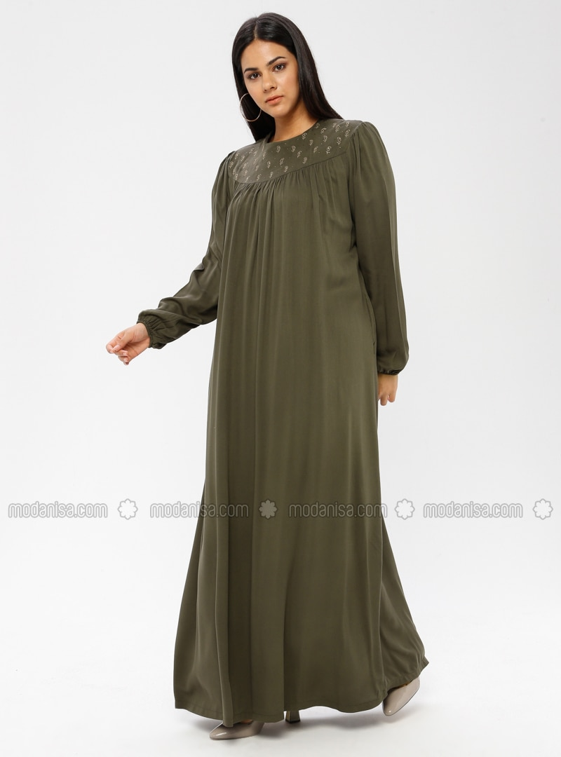 Khaki - Unlined - Crew neck - Viscose - Plus Size Dress - Ginezza
