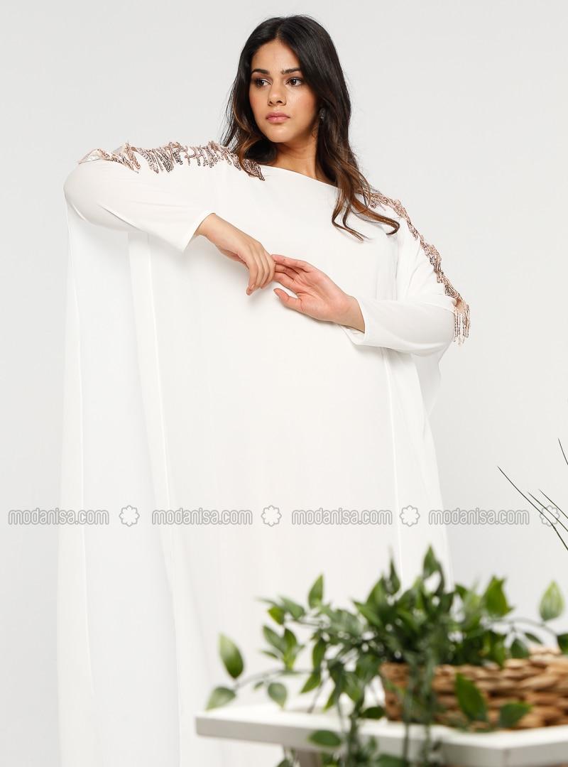 White - Ecru - Crew neck - Unlined - Plus Size Abaya