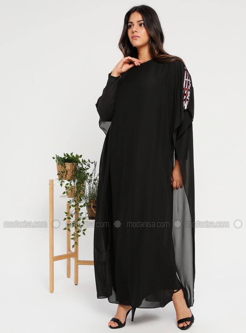 Black - Purple - Crew neck - Unlined - Plus Size Abaya