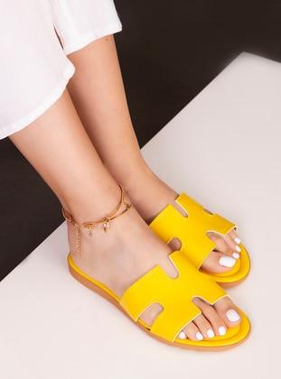 Yellow - Sandal - Slippers - Ayakkabı Havuzu
