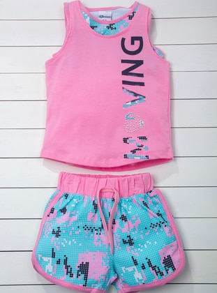 Multi - Crew neck - Pink - Turquoise - Girls` Suit