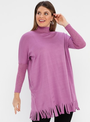 Lilac - Polo neck -  - Plus Size Poncho - AVELA
