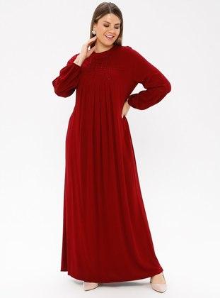Maroon - Unlined - Crew neck - Viscose - Plus Size Dress - Ginezza