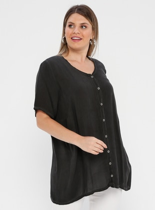 Black - Crew neck - Plus Size Blouse