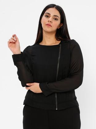 Black - Unlined - Crew neck - Chiffon - Plus Size Jacket
