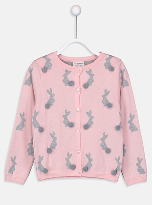 Printed - Crew neck - Pink - Girls` Cardigan - LC WAIKIKI
