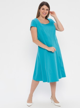 Turquoise - Unlined - Cotton - Plus Size Dress