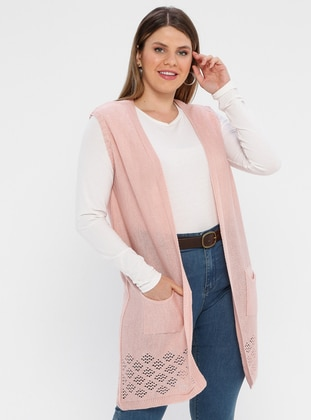Pink - Unlined - Shawl Collar - Plus Size Vest - AVELA