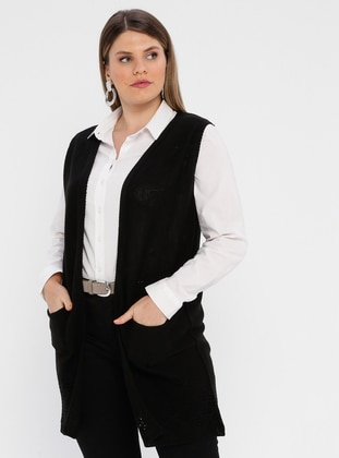 Black - Unlined - Shawl Collar - Plus Size Vest