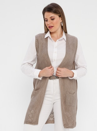 Mink - Unlined - Shawl Collar - Plus Size Vest - AVELA