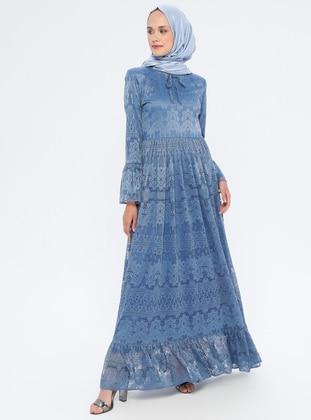 Blue - Navy Blue - Indigo - Crew neck - Fully Lined - Dress