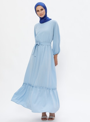 Baby Blue - Crew neck - Unlined - Dress