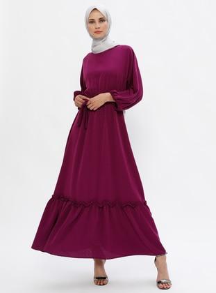 Plum - Crew neck - Unlined - Dress