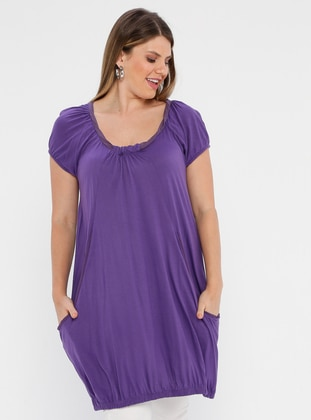 Purple - Crew neck - Viscose - Plus Size Tunic