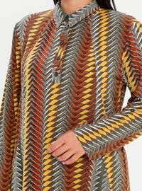 Green - Geometric - Multi - Point Collar - Cotton - Plus Size Tunic