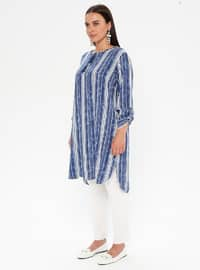 Blue - Navy Blue - Multi - Crew neck - Viscose - Plus Size Tunic