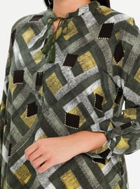 Green - Multi - Crew neck - Viscose - Plus Size Tunic