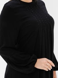 Black - Unlined - Crew neck - Viscose - Plus Size Dress - Ginezza