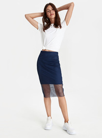 Printed - Navy Blue - Skirt