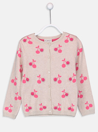 Printed - Crew neck - Beige - Girls` Cardigan